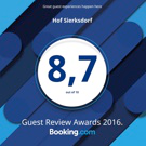 Booking.com Guest Review Award 2016, Bewertung: 8,7